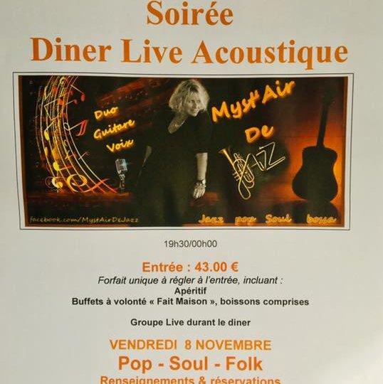 Vendredi 8 novembre au restaurant Léopold Dîner live acoustique po…